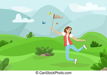 Happy woman jumping with a net in his hands. Girl catches butterflies. Summer landscape. Vector illustration.