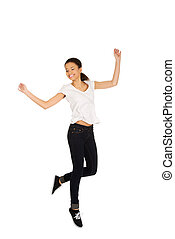 Happy woman jumping with hands up.