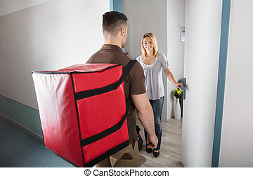 Pizza Delivery Man With Large Red Bag