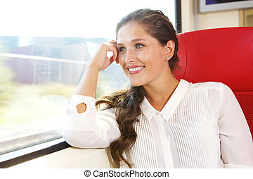 happy woman looking out of train window