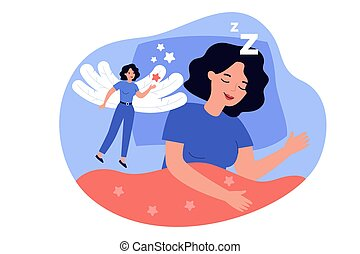 Happy woman lucid dreaming in REM sleep state isolated flat vector illustration. Cartoon character having supernatural experience when soul left body. Physiological condition and dream concept