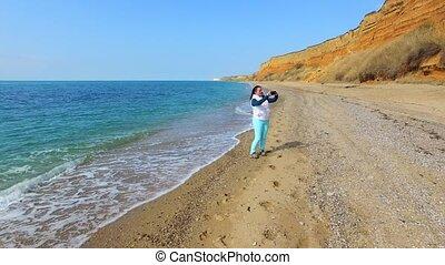 Happy Woman Making Selfie Against Seascape