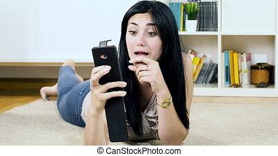 woman making selfie at home