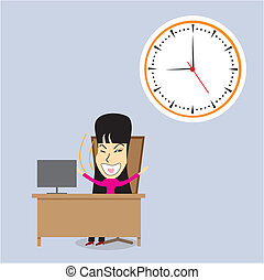 Happy woman office manager. Vector
