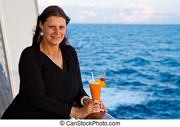 Happy woman on cruise ship
