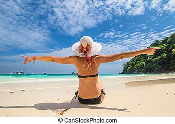 Happy woman on Similan Islands