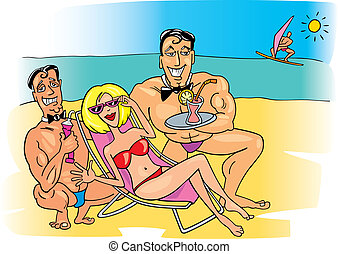 Illustration of happy woman on the beach with two handsome guys
