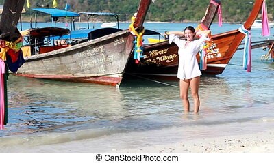 Happy woman on the Phi Phi islands