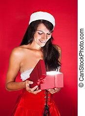 Happy Woman Opening Christmas Gift Isolated