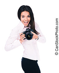 Happy woman photographer with camera