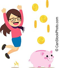 Happy Woman Piggy Bank