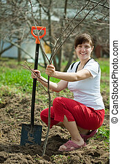 Happy woman planting  tree