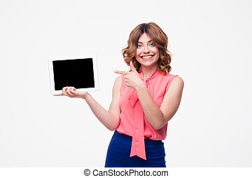 Happy woman pointing finger on tablet computer