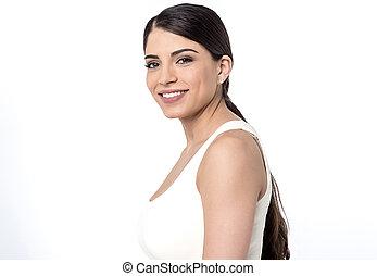Happy woman posing over white