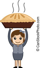 Happy Woman Prepared Apple Pie - Drawing Art of Happy Woman...