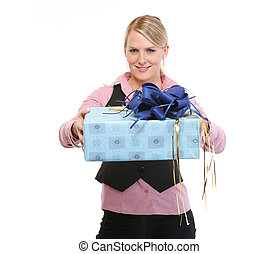 Happy woman presenting gift box