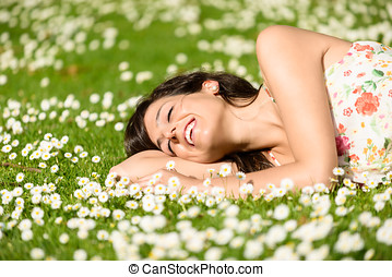 Happy woman relaxing on nature - Happy woman resting and...
