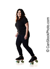 happy woman roller skating on white background