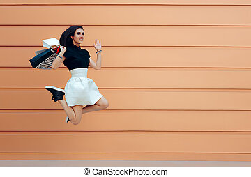 Happy Woman Running With Shopping Bags in Summer Sale Season