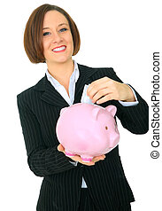 Happy Woman Saving Money