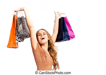 happy woman shopper with shopping bags