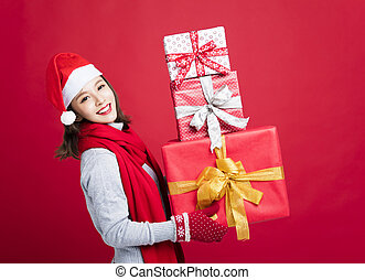 happy Woman shopping for christmas gifts