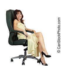 happy woman sitting on armchair