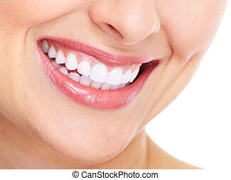 Happy woman smile. Dental care. Isolated on white background...