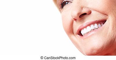 Happy woman smile. Dental care. White teeth.