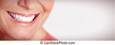 Happy woman smile. - Happy elderly woman smile teeth. Dental...