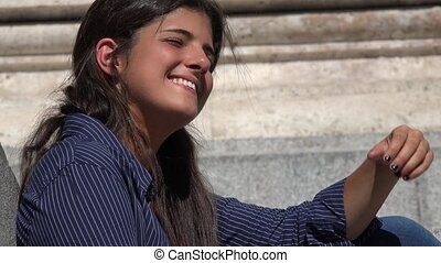Happy Woman Smiling And Daydreaming
