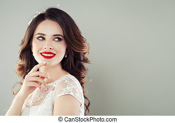 Happy woman smiling on white background