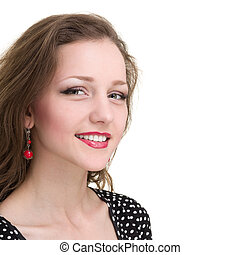 happy woman smiling portrait isolated over a white