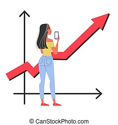 Happy woman standing at the graph pointing up