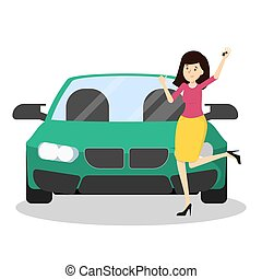 Happy woman standing at the green car and showing thumbs up