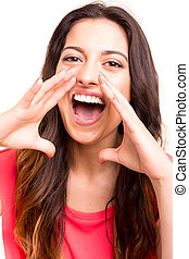 Happy woman - Very happy woman screaming of joy, isolated...
