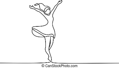 Happy woman stretching Continuous one line drawing - ...