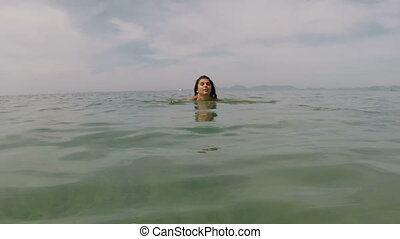 Happy Woman Swimming In Sea Water Action Camera POV Of Young Girl On Beautiful Beach