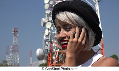 Happy Woman Talking On Cell Phone
