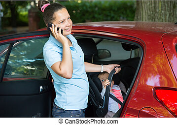 Happy Woman Talking On Mobile Phone