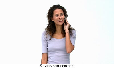 Happy woman talking on the phone