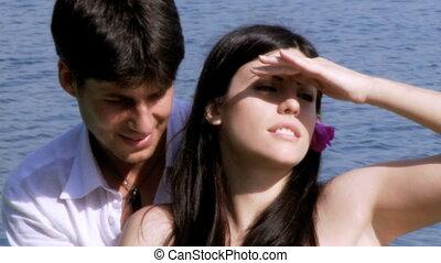 happy woman talking with boyfriend