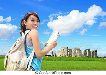 Happy woman travel in England - Happy woman traveler in...
