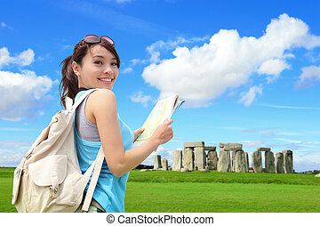 Happy woman travel in England - Happy woman traveler in...
