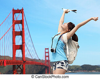 Happy woman travel in San Francisco
