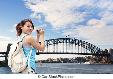Happy woman traveler in Australia - Happy woman traveler ...