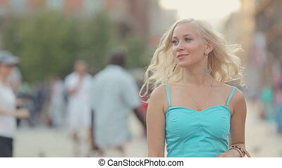 Happy woman traveler walking in Milan - Happy woman traveler...