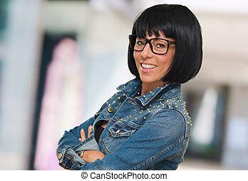 Happy Woman Wearing Eye Glasses