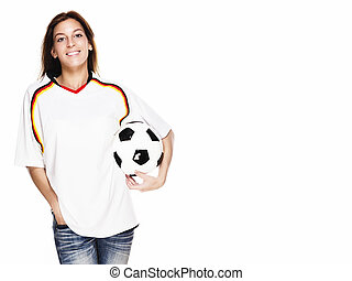 happy woman wearing football shirt holding football on white background
