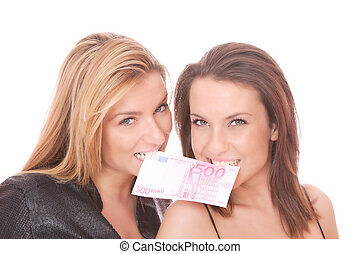 happy woman with 500 EURO bill - Two casual happy woman with...